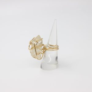 Gold Colored Brass Wire Wrapped Clear Crystal Quartz Ring