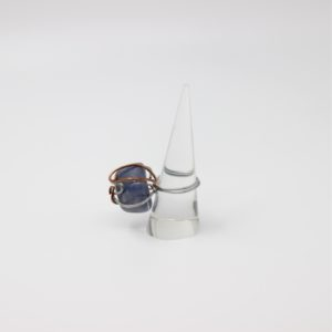 Blue Aventurine Aluminum and Copper Wire Wrapped Ring