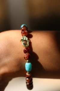 Hand of Fatima Brown Glass Painted Beaded Bracelet