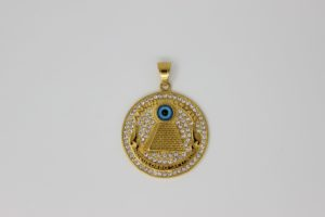 Gold Plated Rhinstone Pyramid Necklace (annuit coeptis novus ordo seclorum)