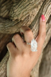 Clear Crystal Quartz Sterling Silver Wire Wrapped Ring