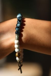 Howlite and Black Painted Glass Ankh Beaded Bracelet
